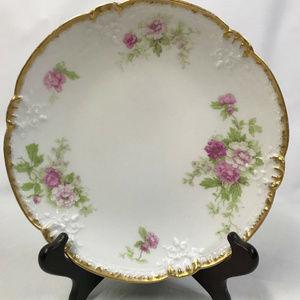T&V Limoges Pink Roses Display Plate, c. 1892